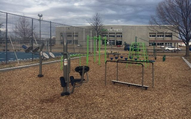 Exterior of a park with playground equipment